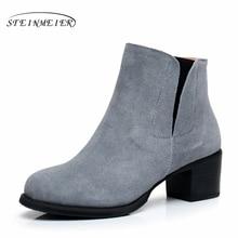 купить Genuine Leather Ankle Boots Comfortable quality soft Shoes Brand Designer Handmade grey US size 9.5 with fur 2017 winter онлайн