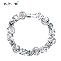 High Quality Women Platinum Plated Bangle Bracelet AAA Swiss Cubic Zirconia Birdal Jewelry
