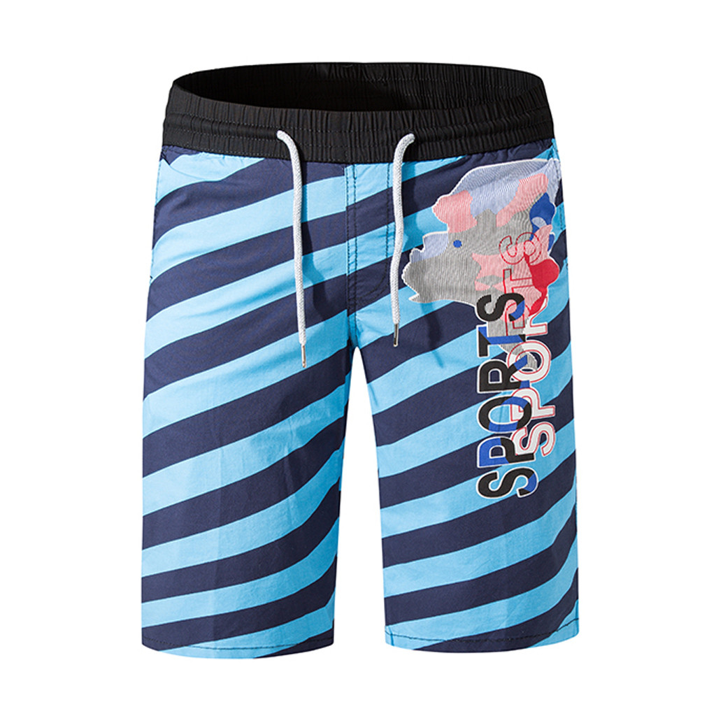 CHAMSGEND Shorts Casual Stripe Printing Beach Shorts Men Board Shorts Surfing Trunks Swimwear Running Loose Short Pants 44.JAN25