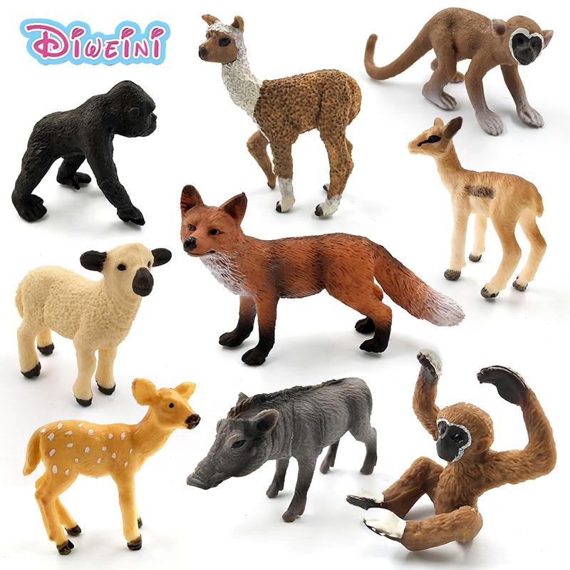 Simulation forest wild plastic animals figure model Alpaca Warthog Chimpanzee sheep Deer Fox Antelope Monkey Gibbon figurine toy