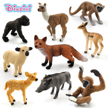 Simulation forest wild plastic animals figure model Alpaca Warthog Chimpanzee sheep Deer Fox Antelope Monkey Gibbon figurine toy