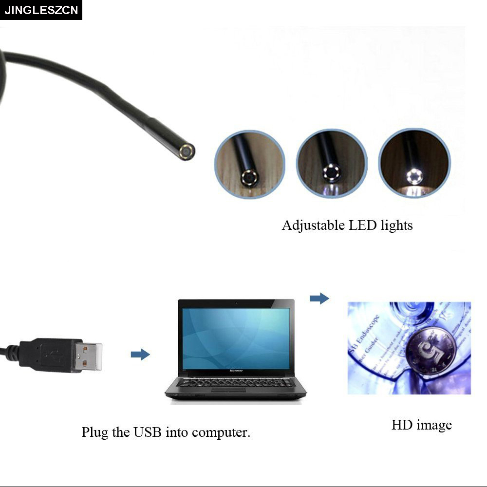 JINGLESZCN USB Endoscope 7MM Lens 2M Length Mini Camera CMOS Waterproof 6 LED Borescope Inspection Endoscopio Snake Video Cam