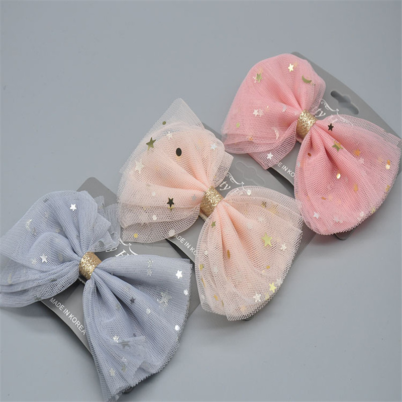 Newest 1 Piece Star Big Mesh Lace Bows Accessories With Clip Boutique Bow Hairpins Hair Ornaments