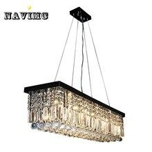 Modern Luxury Crystal Chandelier LED Light Fixture Lamp Square Shape Black Lighting For Dining Room Foyer