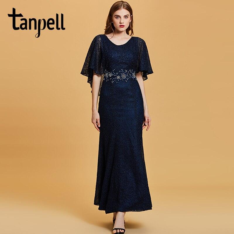 Tanpell embroidery evening dress dark navy half sleeves floor length ...