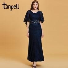 Женское вечернее платье с вышивкой tanpell темно синее до пола