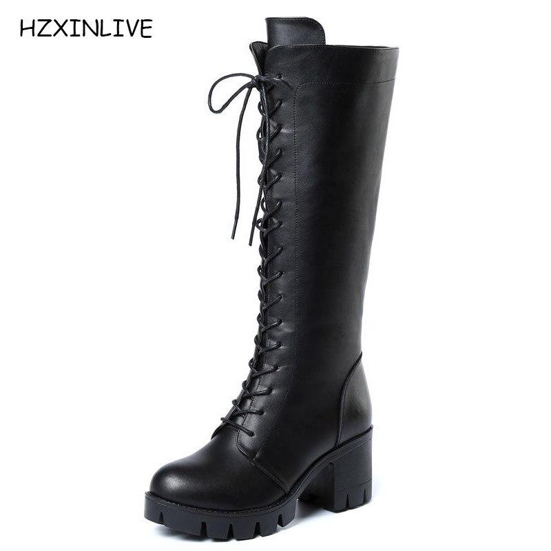 297ea87e0 Moda Zapatos Hzxinlive Rodilla Genuino De Tacón Altas Toe Invierno Nueva  Marca Mujeres Ronda Cuero Botas ...