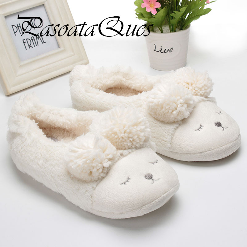 New Winter Home Slippers Women House Shoes For Indoor Bedroom House Warm Plush Slippers Adult Cute Animal Cartoon Flats 2016 cute flat indoor winter flock cartoon slippers unisex adult fluffy house warm home animal women cosplay bow plush mules shoes