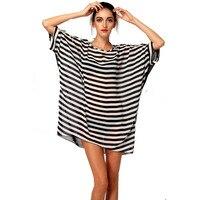 Kobiety dorywczo Luźne Szyfonowa sukienka Zrelaksowany kobiety Kimono Kostiumy Kąpielowe Vestidos Krótkim Rękawem Szyfon Vestido Praia Beachwear 40885