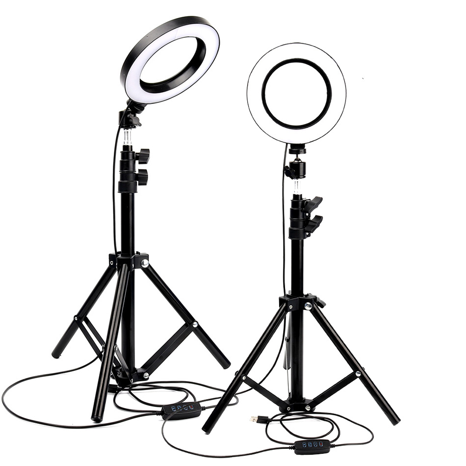 Photography Dimmable LED Selfie Ring Light Youtube Video Live 3500-5500k Photo Studio Light With Phone Holder USB Plug Tripod