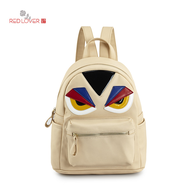 ФОТО Red Lover Female backpack PU leather Korea style Totos Little monster Preppy style backpacks Teenagers rucksacks