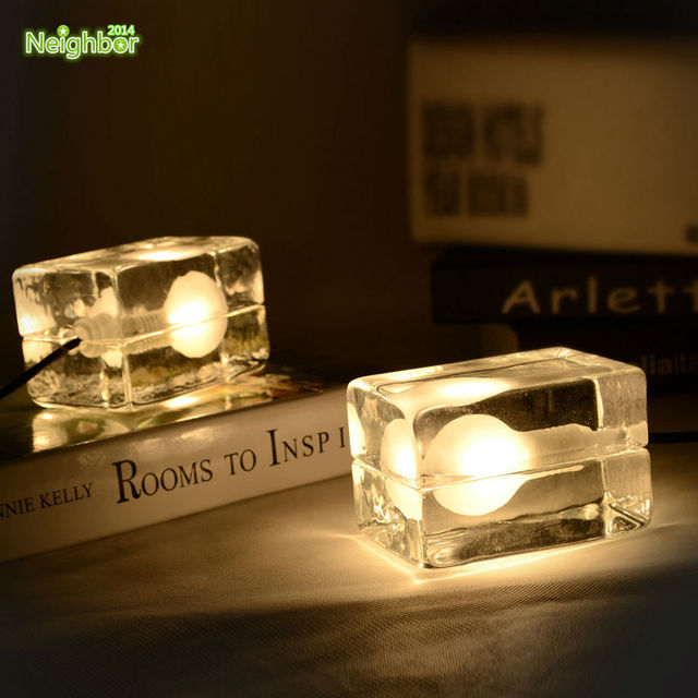 Modern transparent clear ice cube glass led table lamp table light modern transparent clear ice cube glass led table lamp table light desk lamp bedroom bedside lighting mozeypictures Gallery