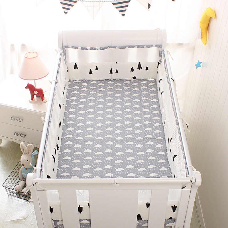 Дышащий половина хлопка и сетки мультфильм детские постельные принадлежности для кроватки комплект для девочек и мальчиков 5 шт./компл. кровать для новорожденных постельное белье Cot бамперы + Лист