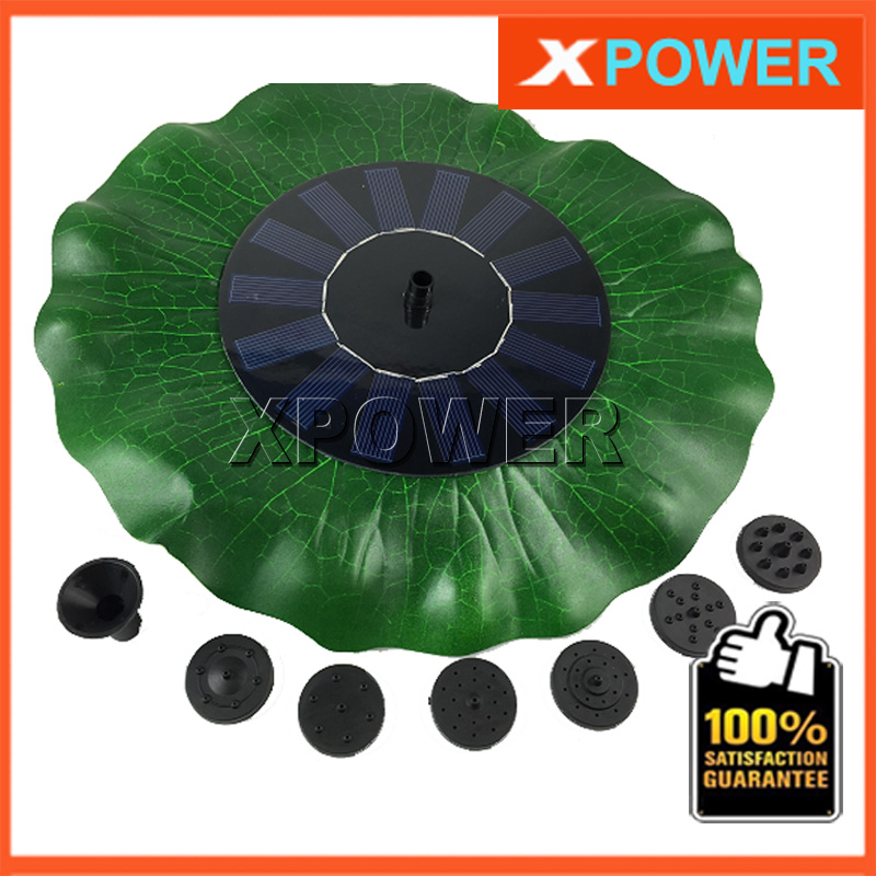 JT-160F1HY38 200L/H Lift 90CM Simulation Lotus Leaf Fountain 8V DC Brushless Motor Solar Pump Pond Fountain with Solar Panel