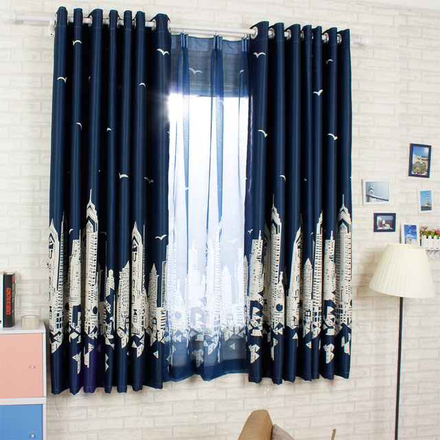 modern castle and star pattern navy blue short curtains for living