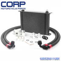 Universal 28 Row JDM Engine Oil Cooler Kit + AN10 Oil Lines Kit + Remote Oil Filter