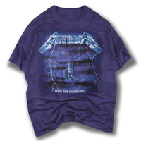 New Arrival Men S Blue T Shirts Full Printed Lightning Metallica Metal Rock Band Tops Tie