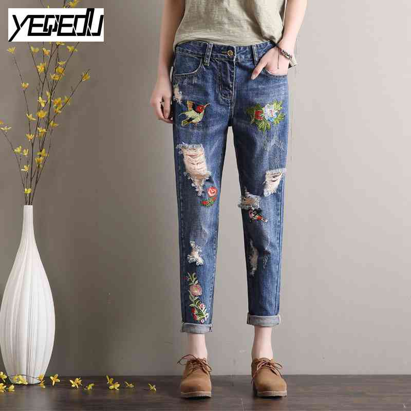 1746 Summer 2017 Vintage Ripped Boyfriend jeans for women Fashion Ankle length Harem jeans with