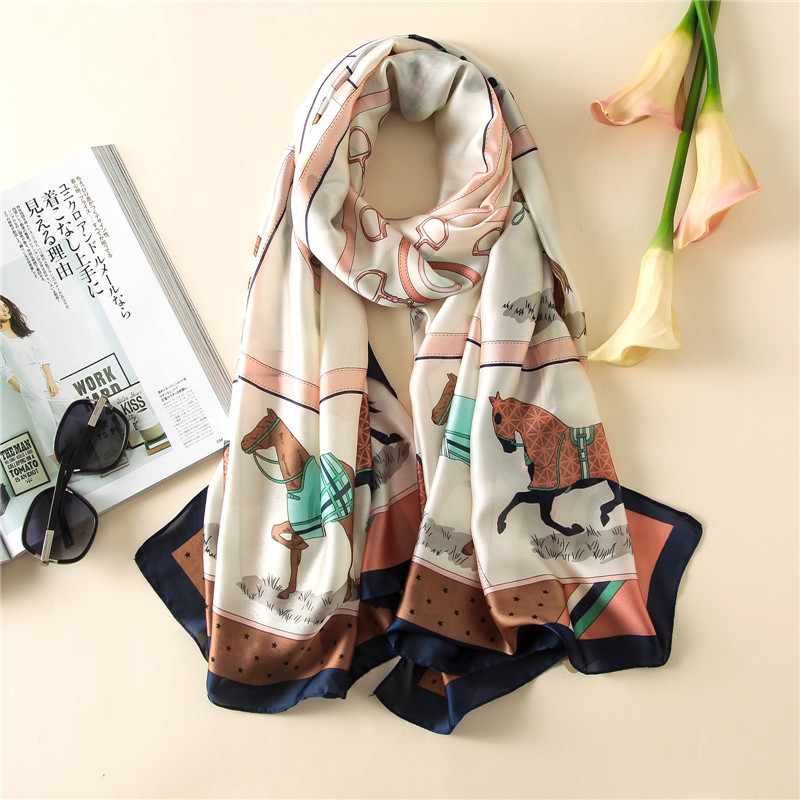 Long Size Spring Women Scarves Fashion Smooth Soft Silk Scarf Classic Lattice Carriage Print Shawl Wrap Luxury Brand sjaal pareo