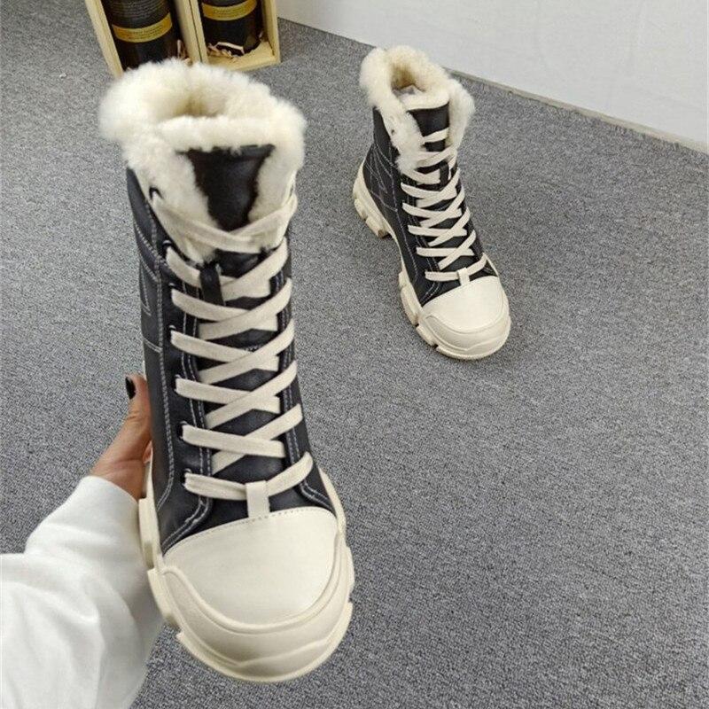 18aw Casuales Nieve As Plataforma De Plana Alto Pic Lana Botas Las as Escalada Pic Zapatos Cuero Piel Mujeres Real Mujer Caballero qgwqtT0rx