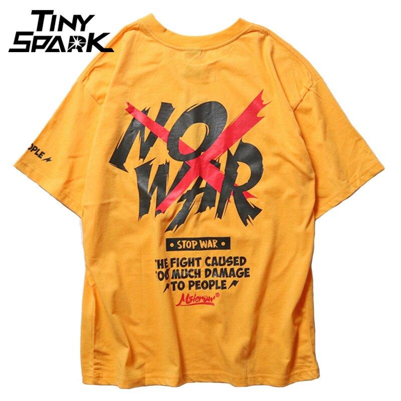 4 Colors 2018 NO WAR Printed T-Shirt New Summer Anti War Tshirts Mens Hip Hop Casual Short Sleeve Tops Tees Streetwear T-Shirts