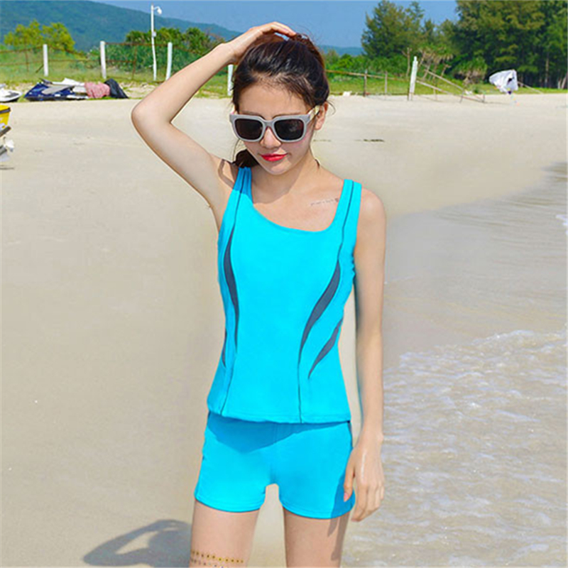Modern 2016 Newest Maillot De Bain Femme Beach Sport Swimwear Women Candy Color Top Bottoms 2pcs Padded Tankini Swimsuit
