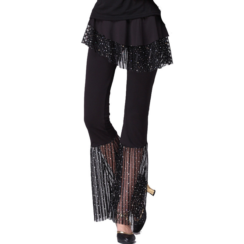 Women Dance Pants Slim Fit Sequin Bell-bottoms Soft Elastic Loose Latin Dance -MX8