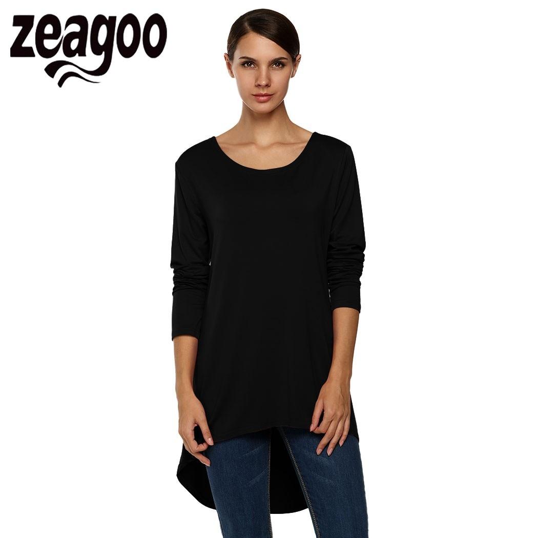 Black t shirt back and front - Zeagoo Fashion Ladies T Shirt Women Cotton Leisure Tee Tops Front Tshirt Back Length Long