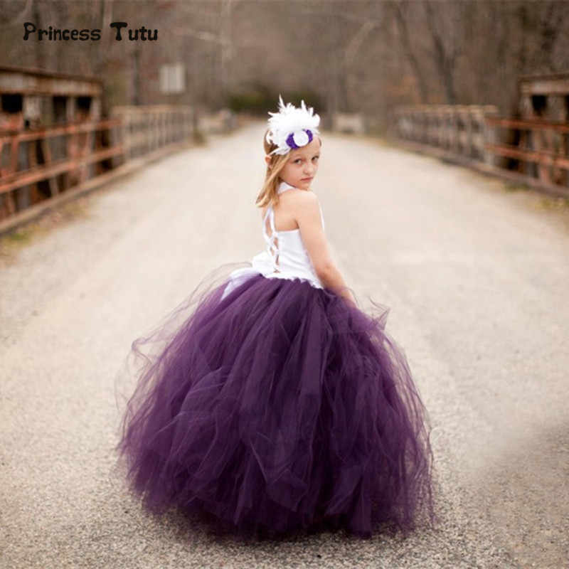 Purple Girls Tutu Dress Handmade Girl Party Dress Elegant White Lace Satin Bodice Tulle Dress Kids Girls Birthday Wedding Dress