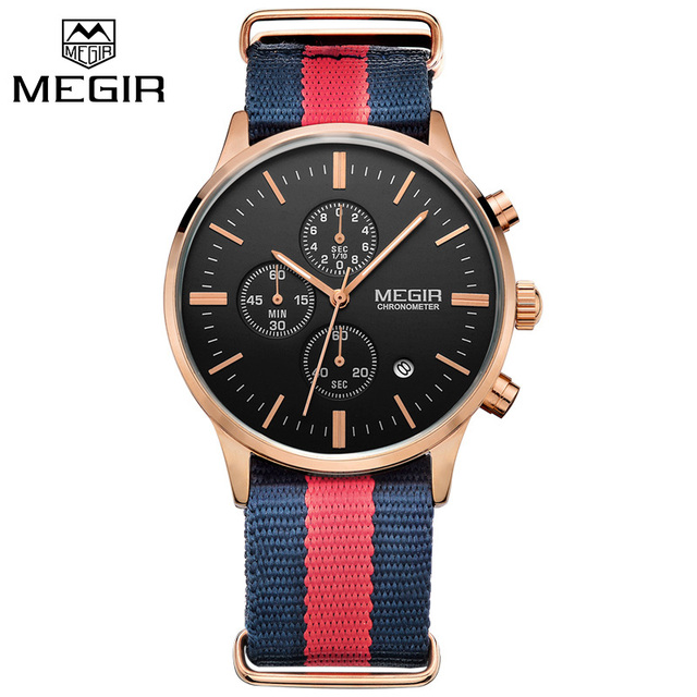 MEGIR ML2011GBE Luxury Military Watch Relogio Masculino Men Canvas Strap Men Watches Chronograph 6 Hands Auto Function Watch