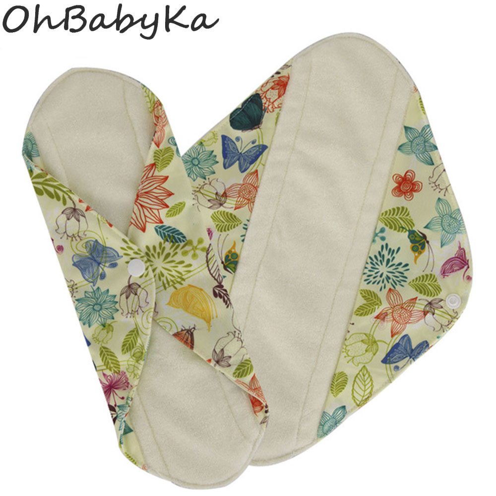 Ohbabyka Reusable Women Serviette Hygienique Pad Cloth Panty Liners Bamboo Fiber Cloth Menstrual Pad Dropshiping Size S M L