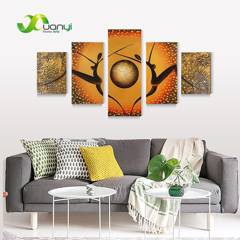 5 Pieces Hand Drawing Modern Abstract Oil Painting Wall