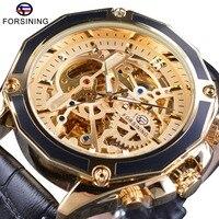 Forsining Men S Watches Mechanical Wristwatch Golden Skeleton Dial Steampunk Waterproof Sport Watches Black Genuine Leather