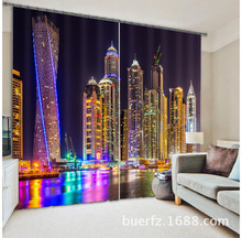 City lights Luxury 3D Blackout Curtains For Living room Bedding room Drapes Cotinas para sala for Chirstmas decorative