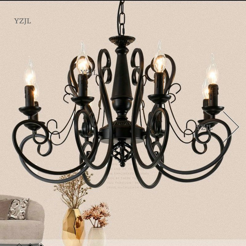 Chandelier lighting Restaurant minimalist living room bedroom creative American European retro chandelier iron candle lighting 2017 luminaria american retro crystal iron chandelier living room bedroom restaurant golden vintage art lighting free shipping
