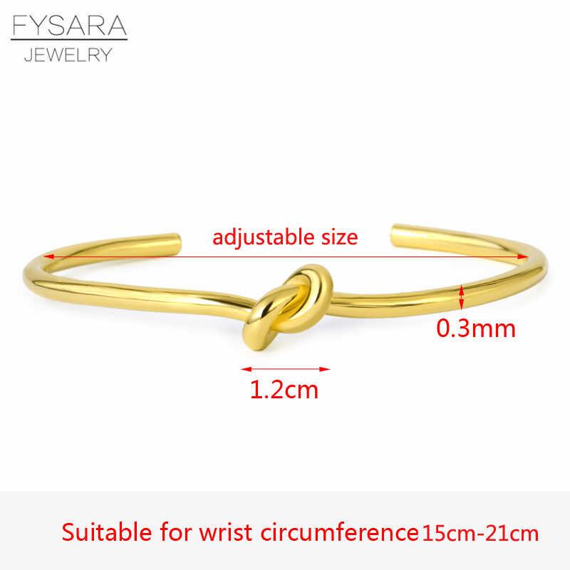 FYSARA เล็บง่าย Knot Cuff สร้อยข้อมือแบรนด์หรูคู่ Lover กำไลและกำไลสำหรับผู้หญิงผู้ชายทอง Pulseiras เครื่องประดับงานแต่งงาน
