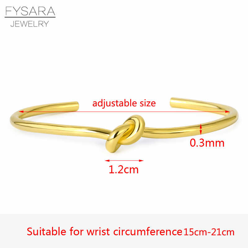 FYSARA Simple Nail Knot Cuff Bracelet Luxury Brand Couple Lover Bracelets & Bangles For Women Men Gold Pulseiras Wedding Jewelry