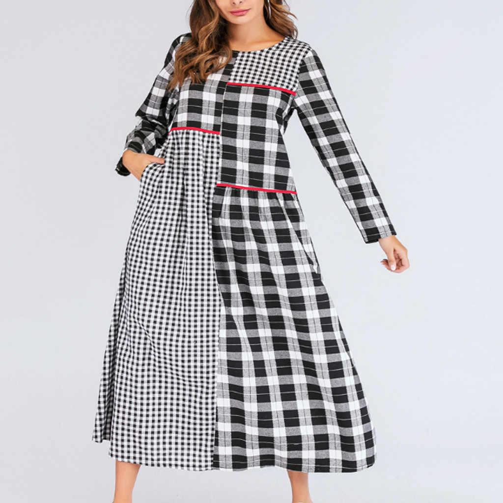 Feitong/женское платье из Аравийского полиэстера, длинное клетчатое платье с круглым вырезом и длинными рукавами в стиле пэчворк Lange Jurken, Повседневное платье для женщин Vestidos