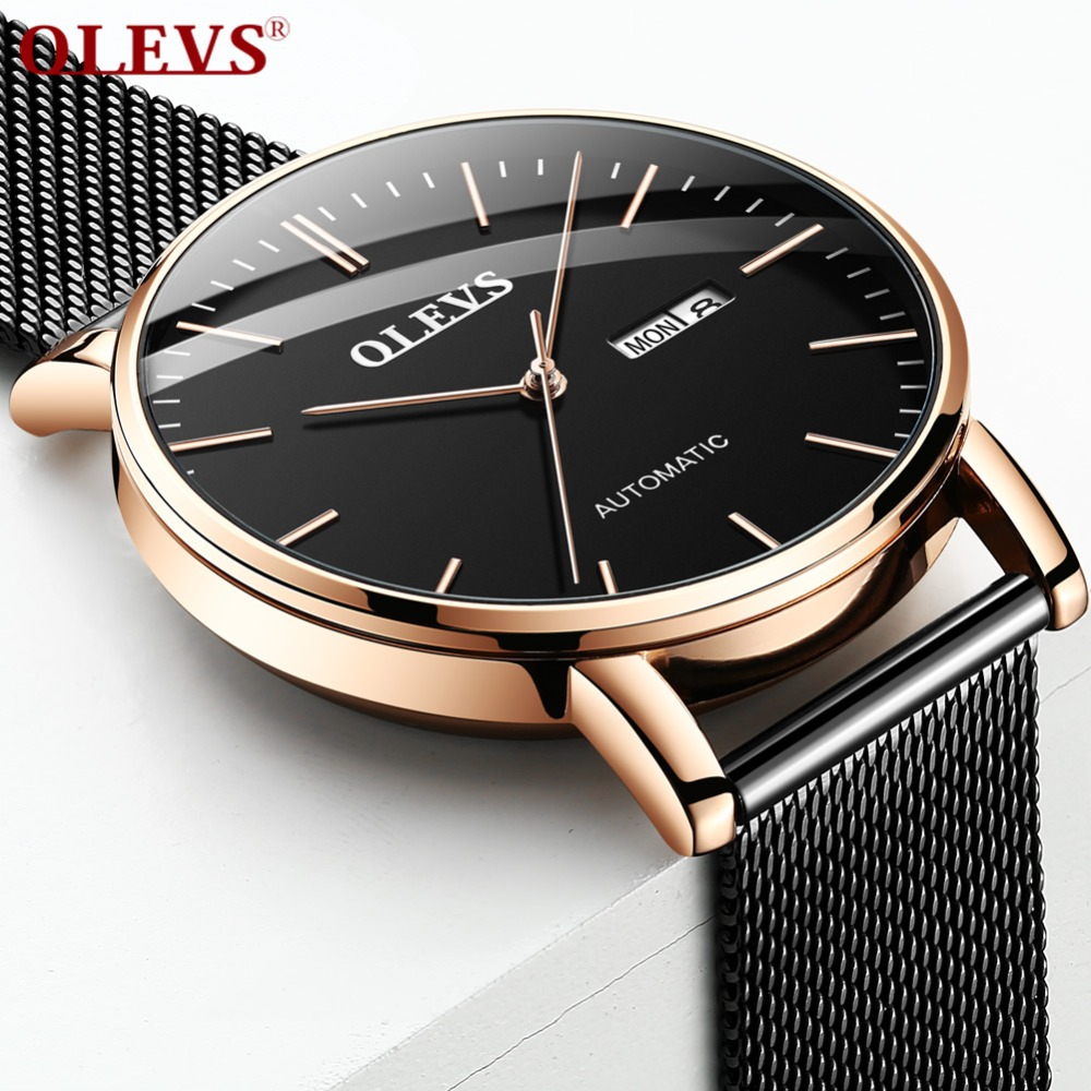 OLEVS Minimalist Fashion Men Watches Automatic Mechanical Ultra Thin Mesh Strap Sub-dial Top Brand Luxury Rose Gold Wristwatches