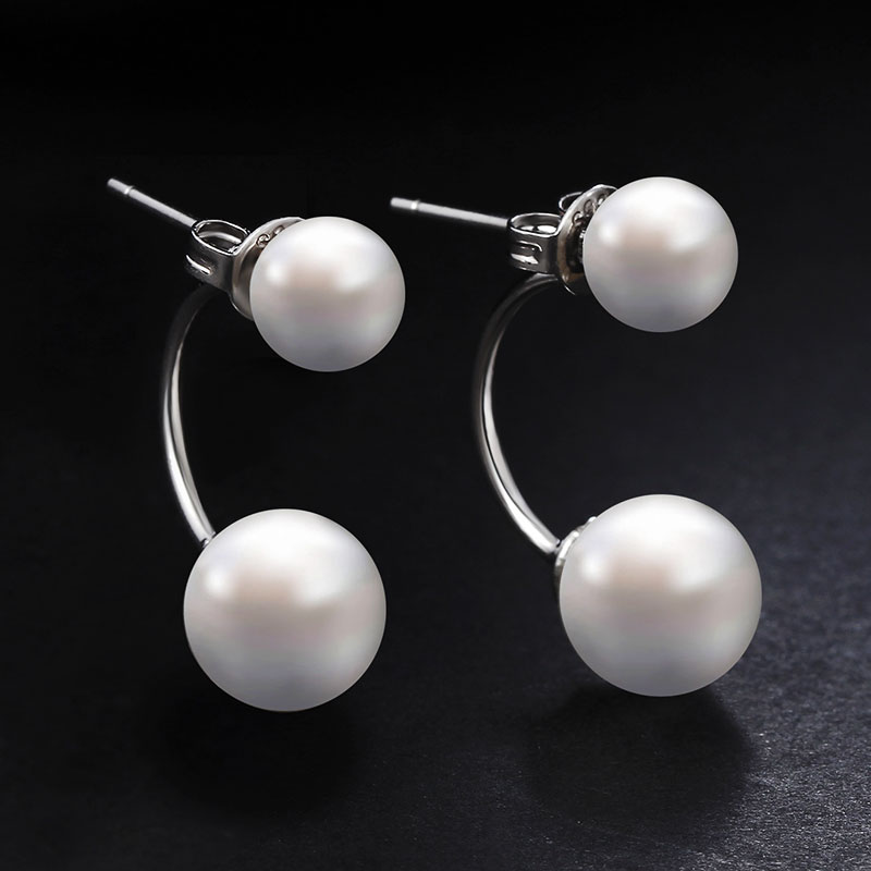 Hot Silver Plated Double Side Earing Fashion Jewelry Crystals