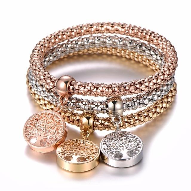 3Pcs Tree of Life Bracelet Popcorn Owl Heart Anchor Musical Note Charm Bracelets For Women Pulseria Feminina Boy & Girl Jewelry