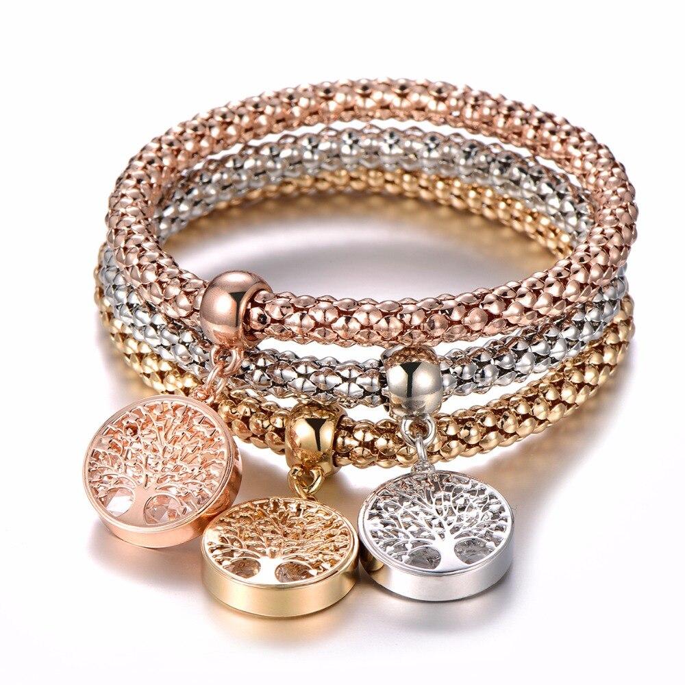 3Pcs Crystal Charm Bracelet Tree of Life Owl Anchor Music Note Boy Girl Heart Bracelets For Women Pulseria Feminina Jewelry Gift(China)