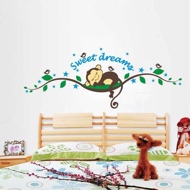 baby sleeping monkey wall stickers tree wall decals for kids rooms
