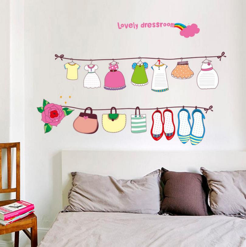 Cartoon lovely dress shoes design wall sticker cute baby girls rooms decor mural stickers diy - Cute toddler girl room ideas ...