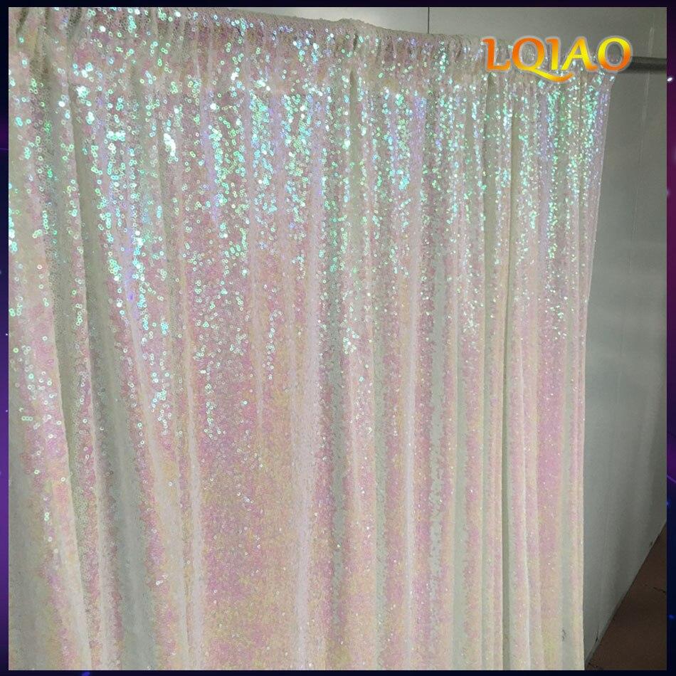 5FT * 6FT/10FT * 10FT Blanco/oro lentejuelas telón de fondo de cabina de la foto de boda de decoración lentejuelas cortinas cortina lentejuelas paneles