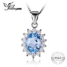 Jewelrypalace princesa diana william kate 2.3ct natural blue topazs no incluye una cadena de halo colgante genuino plata de ley 925