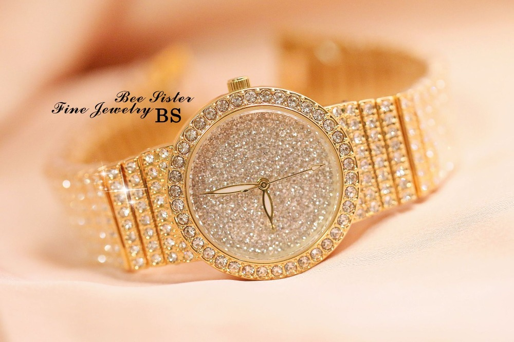 Image 4 - Women Luxury Watch Rose Gold Diamond Dress Watches Ladies Stainless Steel Fashion Female Rhinestone Bling Quartz Watch GiftWomens Watches   -