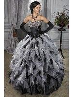 Thời trung cổ Trắng Đen Bridal Gowns Đầy Màu Sắc Hai Tones Bóng Gown Corset Ruffles Organza Grecian Quinceañera Girl Wedding Dresses