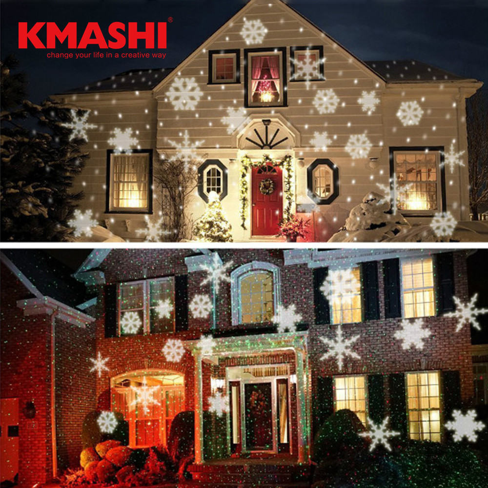 Kmashi Christmas Snowflakes LED Stage Lights Holiday White RGB Sparkling Landscape Projector Lawn Garden Wall Decoration Lamp EU christmas elk snowflakes printed wall stickers