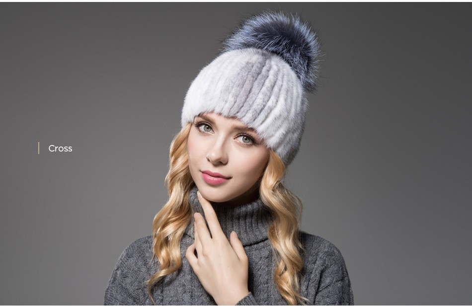 mink fur winter hats for women PCM010 (10)